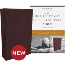 NKJV Charles F. Stanley Life Principles Bibles, 2nd Edition - Burgundy Leathersoft BB-NKLBU