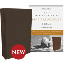 KJV Charles F. Stanley Life Principles Bibles, 2nd Edition - Brown Genuine Leather BB-KJLBR