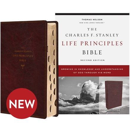 NKJV Charles F. Stanley Life Principles Bibles, 2nd Edition - Burgundy Leathersoft, Thumb Indexed BB-NKLBU-I