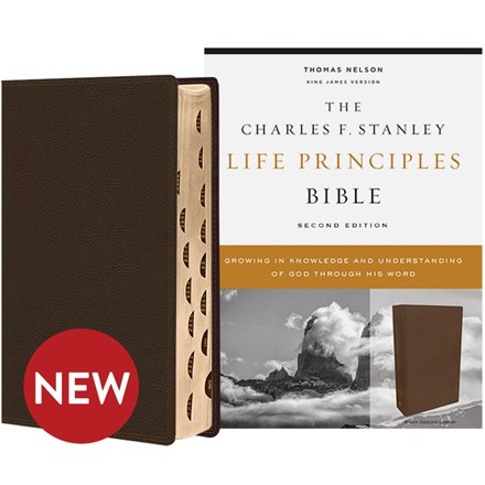 KJV Charles F. Stanley Life Principles Bibles, 2nd Edition - Brown Genuine Leather, Thumb Indexed BB-KJLBR-I