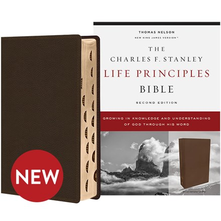 NKJV Charles F. Stanley Life Principles Bibles, 2nd Edition - Brown Genuine Leather, Thumb Indexed BB-NKLBR-I