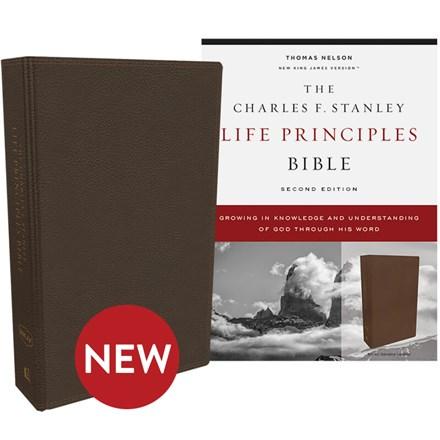 NKJV Charles F. Stanley Life Principles Bibles, 2nd Edition - Brown Genuine Leather BB-NKLBR