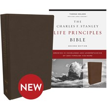 NKJV Charles F. Stanley Life Principles Bibles, 2nd Edition - Brown Genuine Leather BB-NKLBR