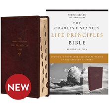 KJV Charles F. Stanley Life Principles Bibles, 2nd Edition - Burgundy Leathersoft, Thumb Indexed BB-KJLBU-I